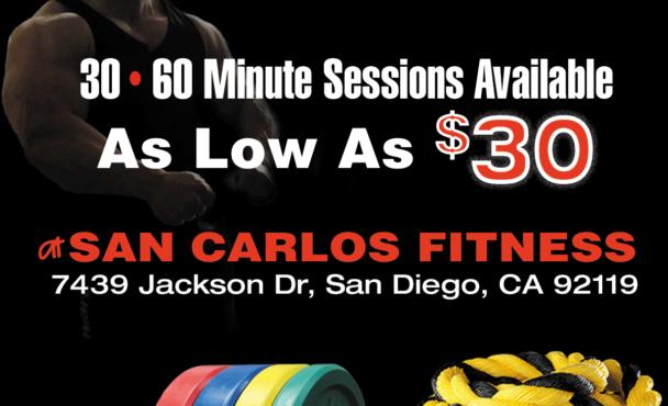San Carlos & La Mesa Personal Training for As Low As $30